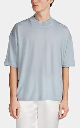 Jil Sander Men's Wool High-Neck Short-Sleeve Sweater - Blue