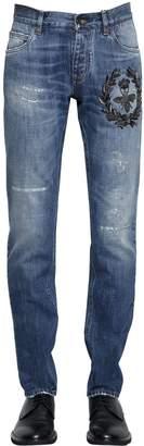 Dolce & Gabbana 17cm Bee Embroidered Denim Jeans