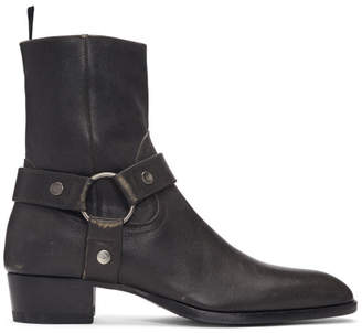 Saint Laurent Grey Stone-Washed Wyatt Harness Boots