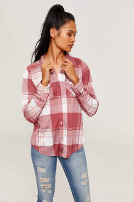 Ardene Plaid Shirt with Snap Buttons