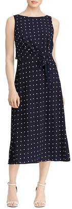 Ralph Lauren Sleeveless Dot-Print Dress