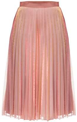 Diana Arno Lola Pleated Midi Skirt In Pink Chameleon