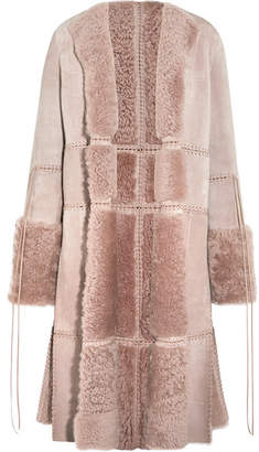 Reversible Whipstitched Leather-trimmed Shearling Coat - Antique rose