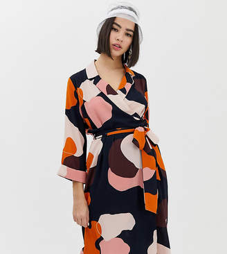 Monki midi camo print wrap dress in navy
