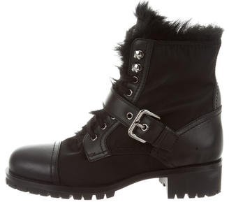 prada Prada Lace-Up Moto Ankle Boots
