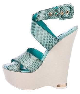 Louis Vuitton Snakeskin Wedge Sandals