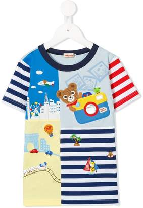 Mikihouse Miki House world tours patchwork striped T-shirt