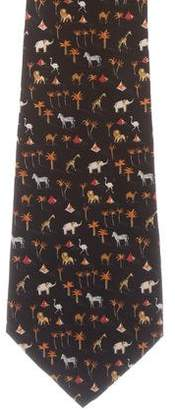 Salvatore Ferragamo Silk Animal Print Tie