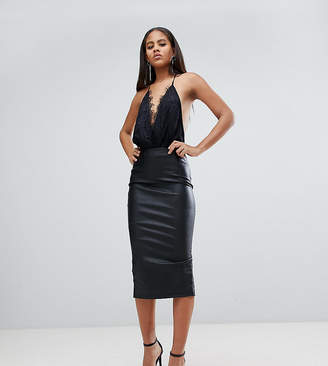 Asos Tall TALL sculpt me leather look pencil skirt