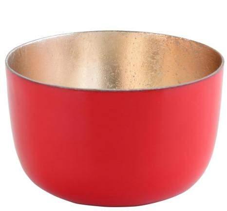 Gift Company Teelichthalter Madras S rot shiny/nudegold