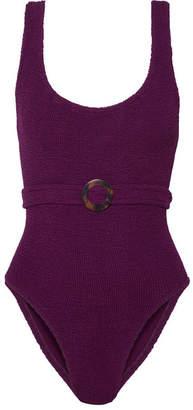 HUNZA G - Solitaire Embellished Seersucker Swimsuit - Dark purple