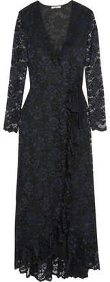 Ganni Ruffle-trimmed Lace Wrap Maxi Dress - Midnight blue