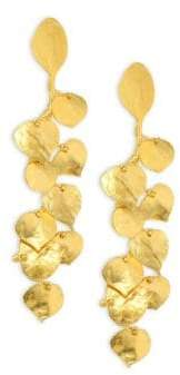 Kenneth Jay Lane Satin Leaf Drop Earrings