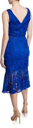 Neiman Marcus V-Neck Lace Flounce Sheath Dress
