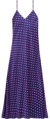 Racil - Geiko Polka-dot Silk-satin Midi Dress - Navy