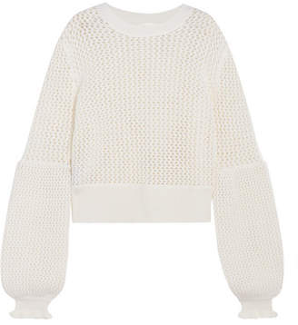 McQ Alexander McQueen - Open-knit Wool Sweater - Ivory $450 thestylecure.com