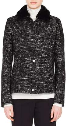 Akris Punto Tweed Jacket with Detachable Faux Fur Collar