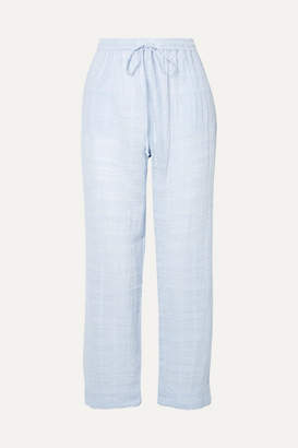 Skin - Cropped Textured Pima Cotton-gauze Pajama Pants - Light blue