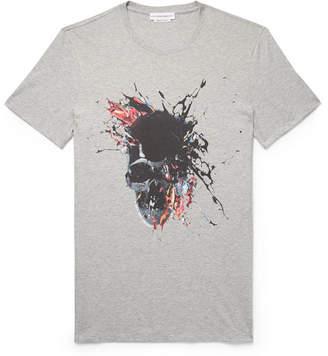Alexander McQueen Slim-Fit Printed Melange Cotton-Jersey T-Shirt - Men - Light gray