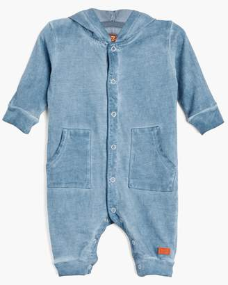 7 For All Mankind Boy's 0-9M Hooded Coverall in Bering Sea