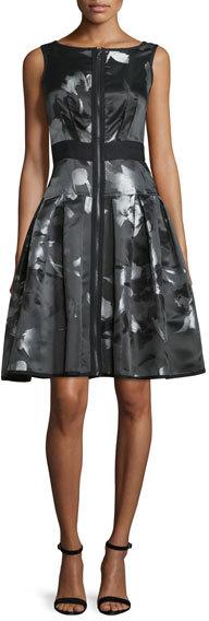 Carmen Marc ValvoCarmen Marc Valvo Sleeveless Floral Zip-Front Fit-and-Flare Dress, Multicolor