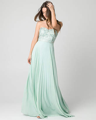 Le Château Embroidered Mesh Strapless Gown