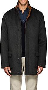 Barneys New York MEN'S SUEDE-TRIMMED CASHMERE FELT FIELD JACKET-CHARCOAL SIZE 44 R