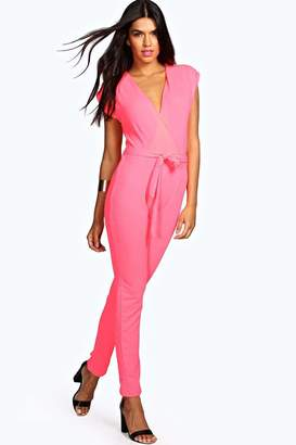 boohoo Petite Wrap Over Jumpsuit