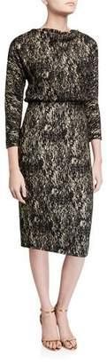 Badgley Mischka Foiled High-Neck 3/4-Sleeve Blouson Dress