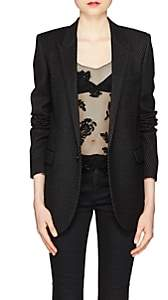 Saint Laurent Women's Striped Wool-Blend One-Button Blazer - Black