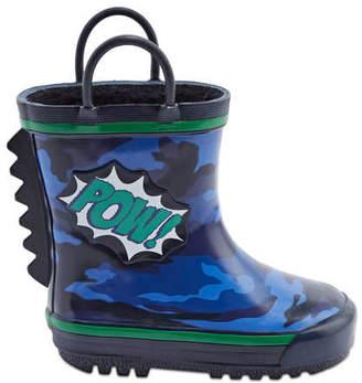 Joe Fresh Baby Boys Camo Rain Boot, Blue (Size 5)