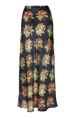 Paco Rabanne Floral-Print Satin Skirt