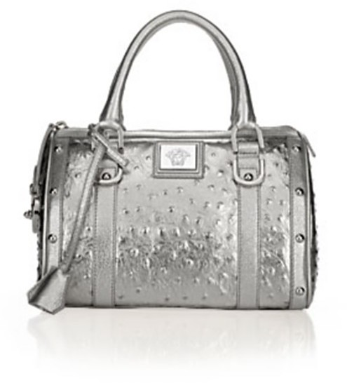 Versace Ostrich-Stamped Small Metallic Boston Bag