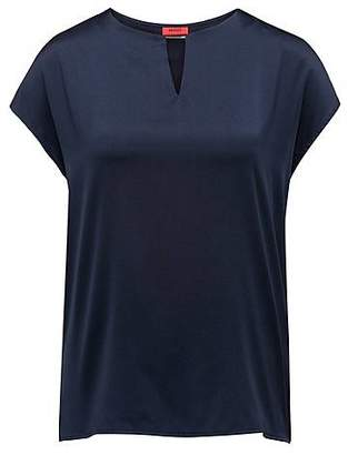 HUGO BOSS Cap-sleeved top with stretch-silk front