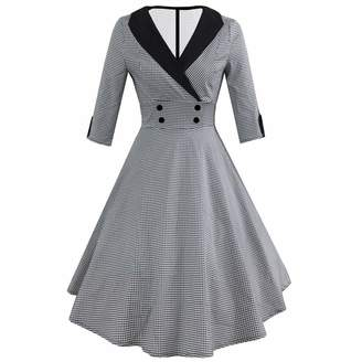 DongDong❣Vintage Dot Print Retro Dress,Womens Fashion 3/4 Sleeve Ball Gown Party Swing Dress