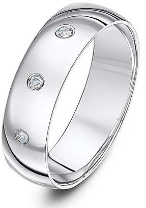 Theia 9ct White Gold Heavy Court 0.06ct Diamond 6mm Wedding Ring - Size R