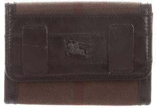 Burberry Leather-Trimmed House Check Wallet