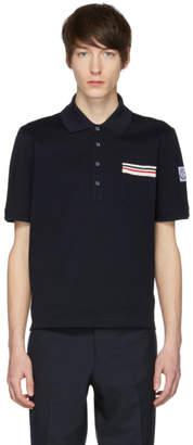 Moncler Gamme Bleu Navy Flag Pocket Polo
