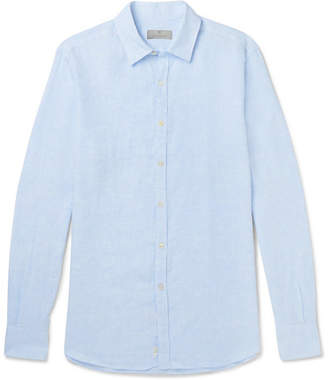 Canali Slim-Fit Cutaway-Collar Slub Linen Shirt