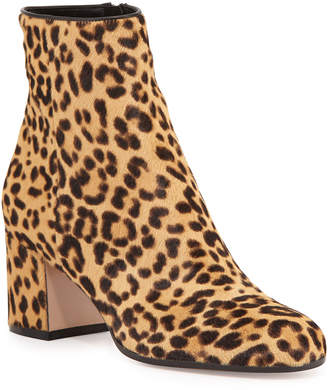 Gianvito Rossi Leopard-Print Calf Hair Block-Heel Ankle Boots