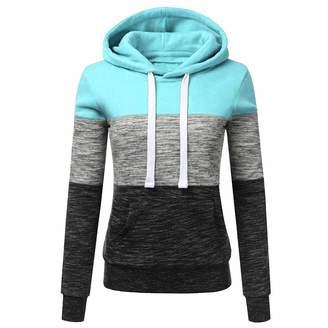 500740734f5b93 Challyhope_Women Sweatshirt Pullover Clearance! Women Fashion Sweatshirt  Stripe Long Sleeve Blouse Hooded with Kangaroo Pocket