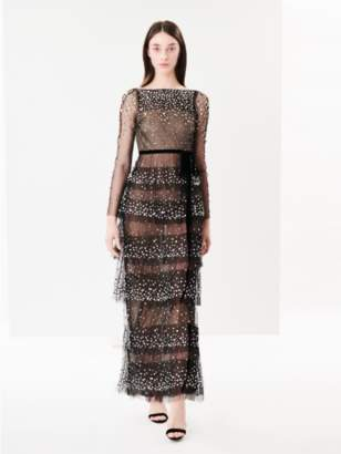 Oscar de la Renta Embroidered Tiered Tulle Gown
