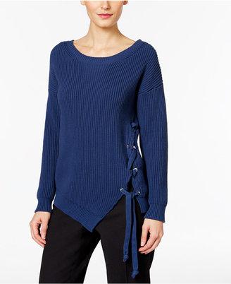 Weekend Max Mara Aguzze Asymmetrical Lace-Up Sweater $395 thestylecure.com