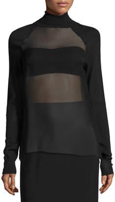 Ralph Lauren Sheer-Panel Turtleneck Top, Black