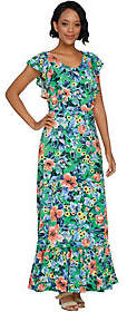 C. WonderC. Wonder Petite Tropical Floral Print Knit Maxi Dress