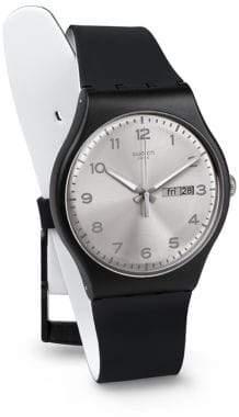 Swatch Silver Friend Silicone Strap Watch