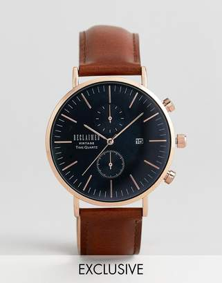 Reclaimed Vintage Inspired Chronograph Leather Watch In Brown Exclusive To ASOS