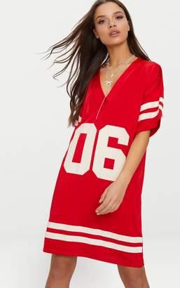 PrettyLittleThing Red Baseball T Shirt Dress