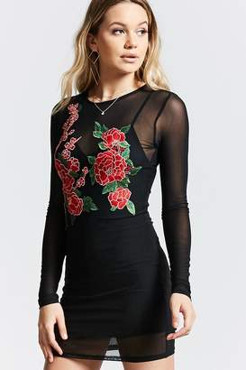 Forever 21 Sheer Mesh Embroidered Dress