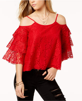 Macy's The Edit By Seventeen Juniors' Lace Cold-Shoulder Top, Created for